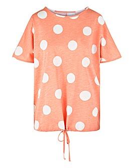 Mink Spot Drawcord Hem T Shirt