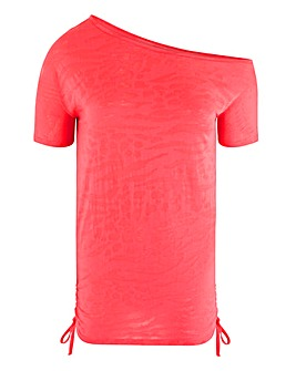 Neon Coral Burnout Off Shoulder Tunic