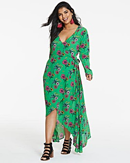 Koovs Floral Print Wrap Dress
