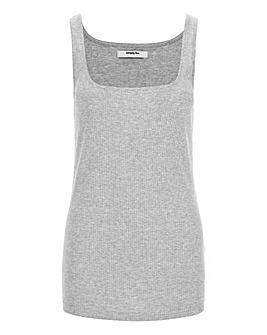 Grey Marl Square Neck Ribbed Vest