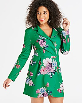 Ax Paris Floral Green Blazer Dress