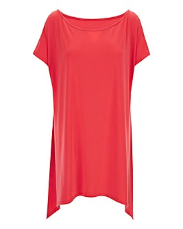 Red Asymmetric Off Shoulder Top