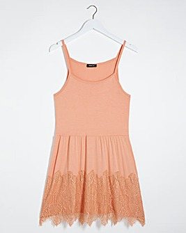 Peach Lace Hem Strappy Tunic
