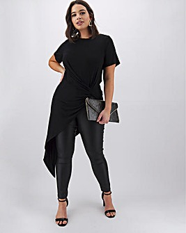 Black Asymmetric Twist Front Tunic