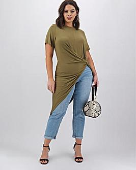 Khaki Asymmetric Twist Front Tunic