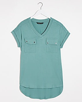 Sage Green Utility T-shirt With Pockets