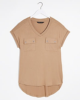 Camel Utility T-shirt With Pockets