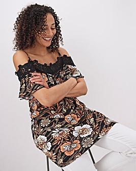 Ditsy Print Lace Trim Bardot Top