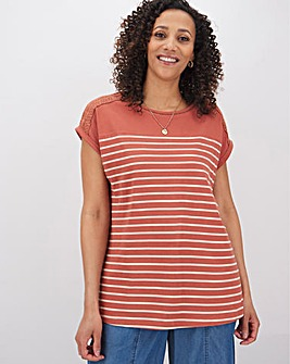 Pink Stripe Lace Shoulder Top