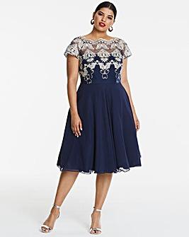 Chi Chi London Navy Lace Midi Dress