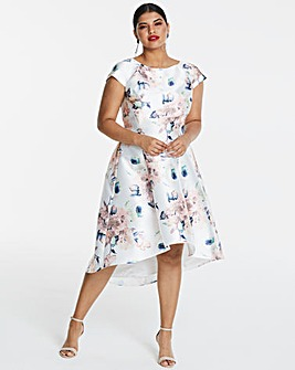 Chi Chi London Floral Dip Hem Midi Dress