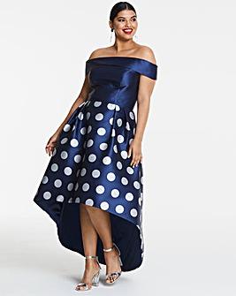 Chi Chi London Bardot Dip Hem Dress