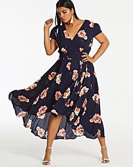 Ax Paris Curve Floral Dip Back Dress