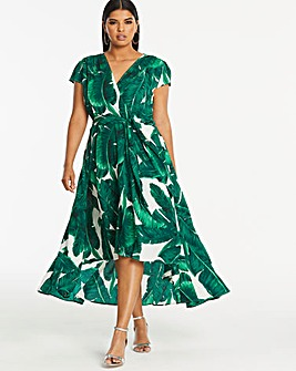 Ax Paris Curve Printed Dip Back Dress