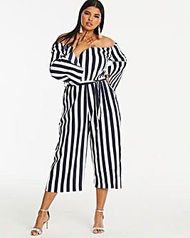 AX Paris Curve Bardot Stripe Jumpsuit