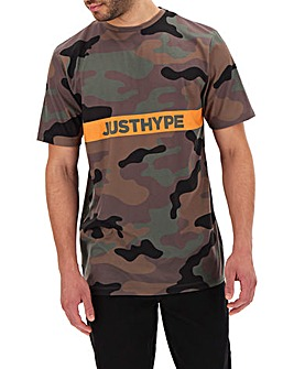 Hype Camo Logo Stripe T-Shirt Long
