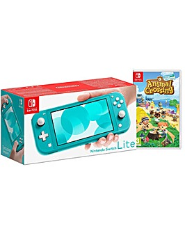 Switch Lite Turquoise and AnimalCrossing