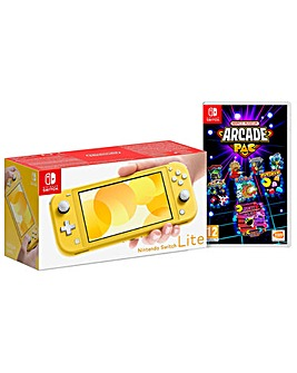 Switch Lite Yellow and Namco Museum Pac