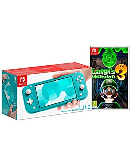Switch Lite Turquiose and Luigis Mansion