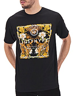 Hype Loin Baroque Square Print T-Shirt Long