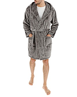 Grey Textured Hooded Dressing Gown