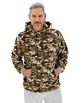 Camo Borg Fleece Hooded Lounge Top