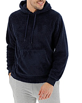Navy Borg Fleece Hooded Lounge Top