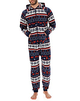 Navy Christmas Fleece Hooded Onesie