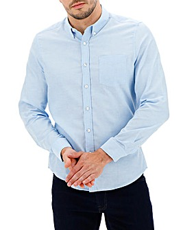 Mid Blue Long Sleeve Oxford Shirt Long