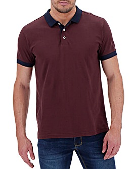 Wine Contrast Collar Short Sleeve Polo Regular