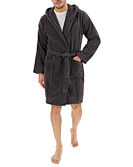 Charcoal Hooded Towelling Dressing Gown