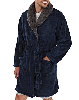 Navy Fleece Dressing Gown