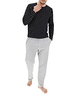 Black Stripe Long Pyjama Set
