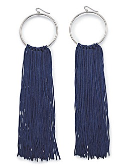 Navy Tassel Hoops