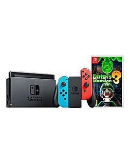 Nintendo Switch Neon Console + Luigi 3