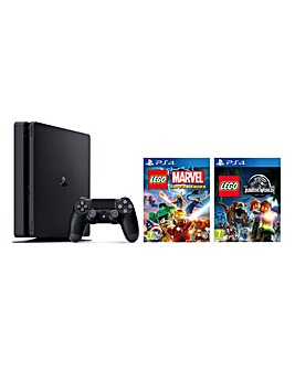 PS4 Slim 500GB Black + LEGO Marvel Super Heroes & LEGO Jurassic World