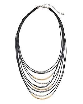Cord and Metal Multi Row Necklace