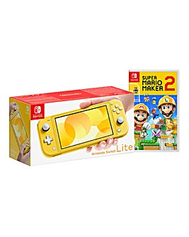 Nintendo Lite Yellow + Mario Maker 2