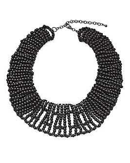 Black Beaded Collar Necklace