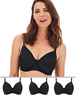 Pretty Secrets 3 Pack Claire BLACK Moulded Full Cup Wired Bras