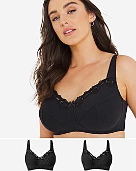 Pretty Secrets Sarah 2 Pack BLACK/BLACK Full Cup Non Wired Bras