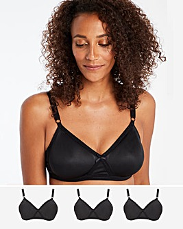 Pretty Secrets 3 Pack Claire BLACK Moulded Full Cup Non Wired Bras