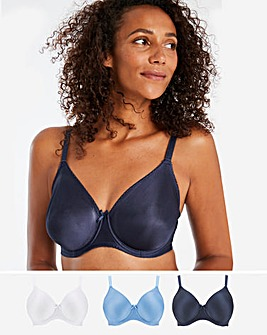 Pretty Secrets 3 Pack Claire NAVY/WHITE/CORNFLOWER n Moulded Full Cup Wired Bras