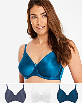 Pretty Secrets 3 Pack Claire TEAL/MINT/STEEL Moulded Full Cup Wired Bras