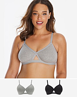 2 Pack Cotton Comfort Non Wired Bra