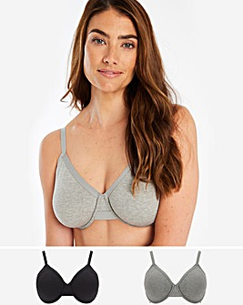2 Pack Cotton Comfort Wired Bra