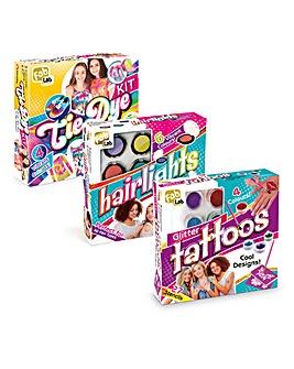 FabLab Festival Bundle Tie Dye, Festival Glitter Tattoos & Hairlights