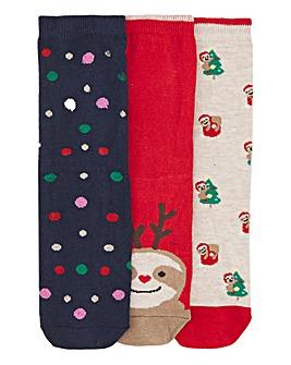 3 Pack Christmas Ankle Socks