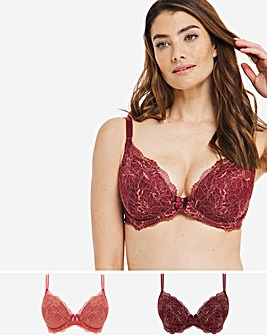 Pretty Secrets 2 Pack Ella Lace Padded Plunge Peach/Mauve Bras