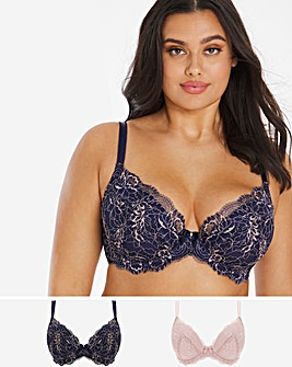 Pretty Secrets 2 Pack Ella Lace Padded Plunge Black/White Bras